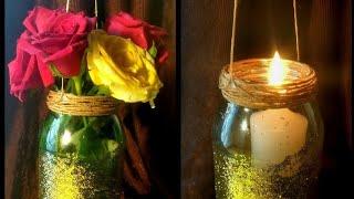 DIY Hanging Mason Jar Candle | Mason Jar Vase | Hobby Vlogs