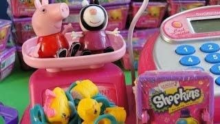 Свинка Пеппа и зебра Зои покупают шопкинс у Барби