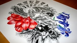 Skeleton Angel Half Sleeve Tattoo Design - Speed Drawing