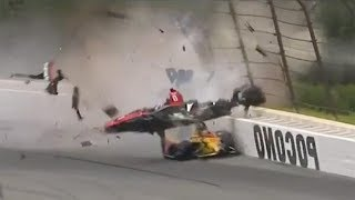 New! Front & Side View of Robert Wickens IndyCar Crash-Watch as car flies over other drivers head!