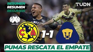 Pumas rescató el empate ante América en el Azteca.