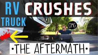 RV CRUSHES MY TRUCK ON 1st TOW! BIGGEST RV LIVING FULL TIME MISTAKE! (PT 2)