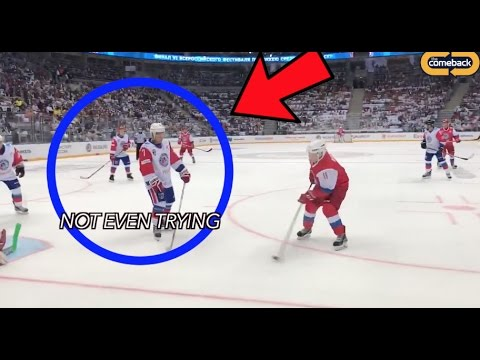 Nobody tries against Vladimir Putin at hockey