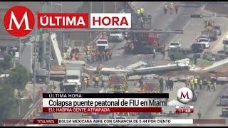 Colapsa puente peatonal recién inaugurado en Miami