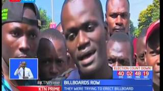 Supporters of  Bolo Awiti clash with police officers over billboards in Mombasa