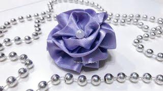 DIY   Цветок из атласной ленты. Очень простой способ.