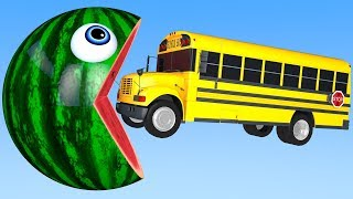 Learn Colors with PACMAN and School Bus Farm WaterMelon Street Vehicle for Kid Children