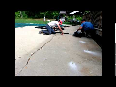 Erickson Foundation Supportworks repairs a cracked and sinking concrete pool patio and it's adjoining...