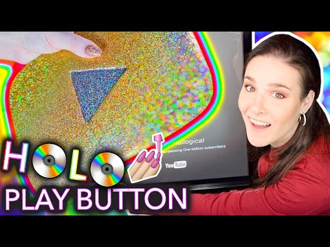 Painting my YouTube Play Button with HOLO NAIL POLISH
