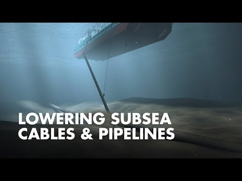 3D animation that shows how subsea cables and pipelines are lowered