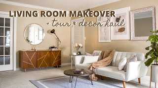 LIVING ROOM MAKEOVER ON A BUDGET   Mid Century Modern Transformation + Decor Haul
