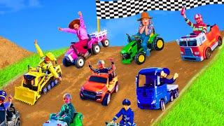 Kinder lernen Farben und Fahrzeuge mit Polizeiautos, Feuerwehrautos und Traktoren