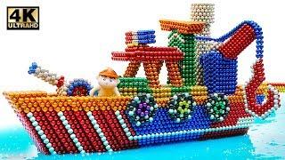 DIY Cara Membuat Kapal Penyelamat Laut Dari Bola Magnet (Memuaskan) | Dunia Magnet 4K