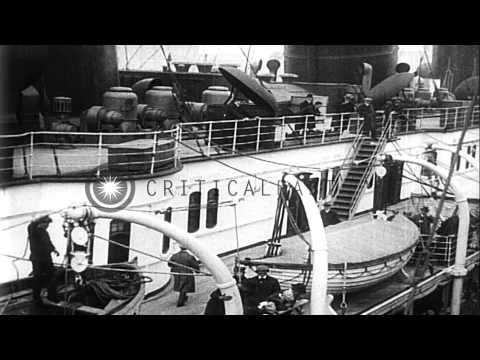 RMS Lusitania on her final departure from New York City, during World War I. HD Stock Footage
