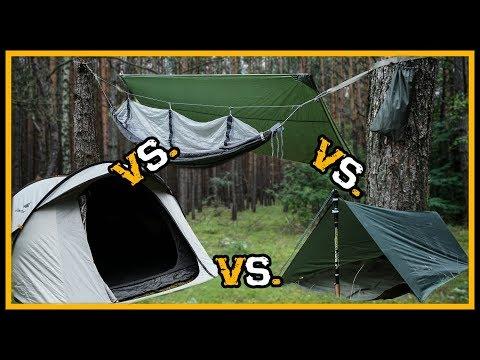 Vergleich: Tarp Shelter vs. Hängematte vs. Zelt - Outdoor Bushcraft Survival