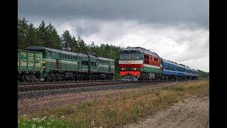 Тепловозы 2ТЭ10У-0064 и ТЭП70-0210 на станция Калинковичи(Восточный парк)