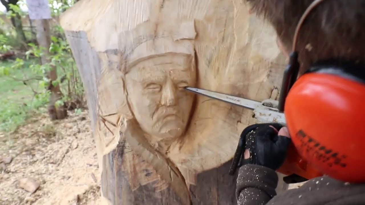 sculpture chainsaw wood carving native american with wolves