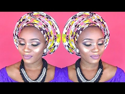 HOW TO TIE INFINITY PLEATS ANKARA GELE AND MAKEUP TUTORIAL/REVIEW FOR A NIGERIAN BRAND HUSH BEAUTY!