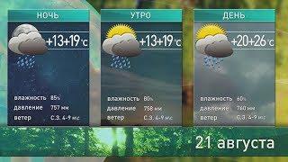 Прогноз погоды на 21 августа