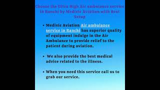 Hire the First Class ICU Air ambulance service in Lucknow by Medivic