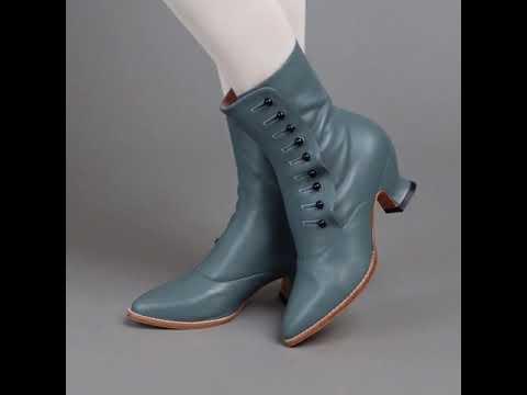 PRE-ORDER Tavistock Victorian Button Boots (French Blue)(1890-1925)