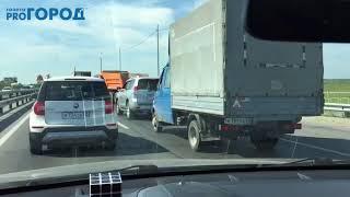 Пробки на Солотчинском мосту в Рязани