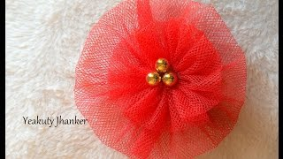 DIY: How to make a circular Tulle flower hair clip