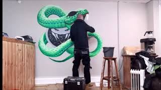 Another Green Viper Mural for the Vaper Rooms