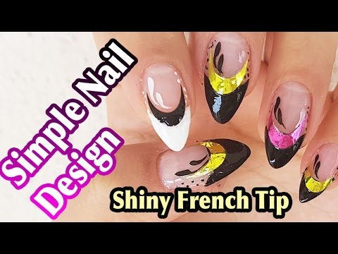 Multi Colored Glitter Shiny French Tip Nail Art Sticker Manicure Decal Decoration