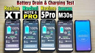 Redmi Note 8 Pro vs Realme XT vs Realme 5 Pro vs Samsung M30s : Battery Drain and Fast Charging Test