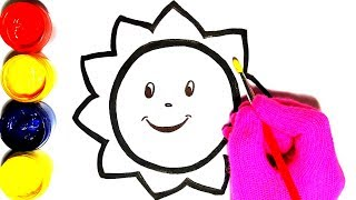 Sunny Sun Sunshine glitter coloring and drawing How to Color Draw for kids Children's Art