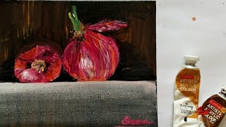 How To Draw An Onion. Easy Acrylic Painting Techniques, Realistic Food Illustrations Using Acrylic