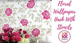 How To Stencil A Japanese Peonies Flower Accent Wall