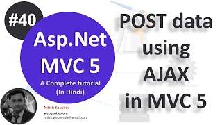 (#40) Post data using ajax in mvc | Asp.Net MVC 5 tutorial-step by step in Hindi