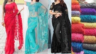Beautiful #Net #Saree Designs  Latest Net Saree Collection  #Net Fabric Saree Designs 2020