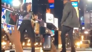 Alicia Keys Perform In Times Square With Jay Z & Nas