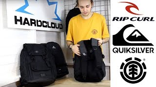ELEMENT, RIP CURL & QUIKSILVER - TECHNICAL BACKPACK FEATURES