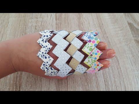 DIY für Kinder/Origami Armband/Flechten mit Papierstreifen/Origami Bracelet