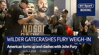 Woah! Huge clash as Deontay Wilder gatecrashes Tyson Fury's weigh-in - Video Youtube