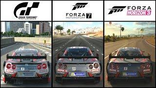 GT SPORT vs FORZA 7 vs HORIZON 3 - Nissan Autech Motul GT-R Comparison (Chase + Cockpit Cam)