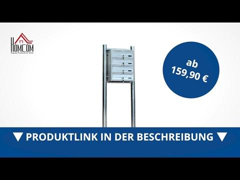 Homcom Edelstahl Briefkasten Briefkastenanlage Standbriefkasten 4 Fächer - direkt kaufen! - Aosom.de