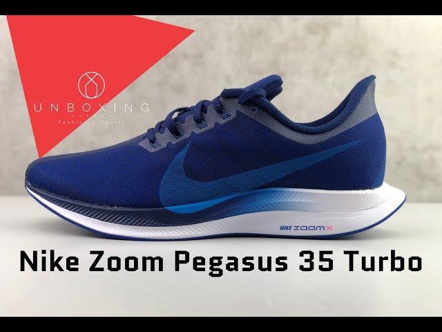 Nike Zoom Pegasus 35 Turbo Indigo Force Photo Blue Unboxing On Feet Running Shoes 2019