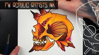 FW Acrylic Ink Tattoo Flash Watercolour Illustration Tutorial