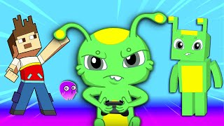 Groovy The Martian & Phoebe -  Groovy is playing minecraft video game!