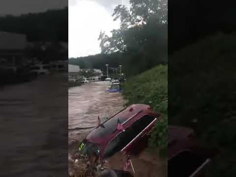 Flash flooding at a Jeep dealership in New Jersey