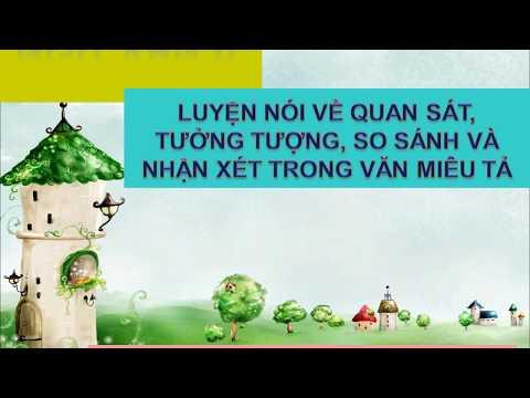NGỮ VĂN 6 - BÀI 20: LUYỆN NÓI VỀ QUAN SÁT, TƯỞNG TƯỢNG, SO SÁNH VÀ NHẬN XÉT TRONG VĂN MIÊU TẢ