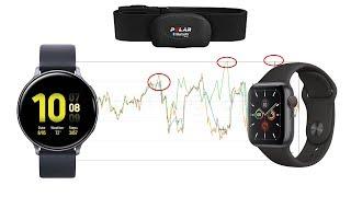 Herzfrequenzmessung mit Apple Watch 5 vs. Samsung Active 2 vs. Brustgurt