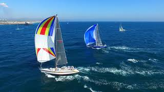 Long Point Race 3 Long Point Catalina Island to Newport Pier - Drone Aerial View - Newport Beach CA