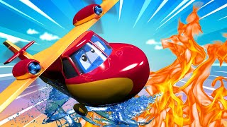 The fire plane truck  - Carl the Super Truck - Car City ! Cars and Trucks Cartoon for kids