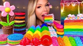 ASMR RAINBOW CREPE CAKE, MERINGUE KISSES, EDIBLE FLOWER, BUTTERFLY PEA TEA, SOUR STRIPS MUKBANG 먹방
